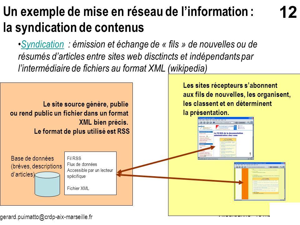 gerard.puimatto@crdp-aix-marseille.fr Villeurbanne - 19 mai 2006 12 Un exemple de mise en réseau de linformation : la syndication de contenus Syndicat