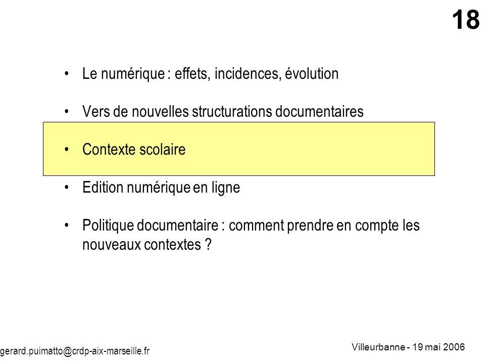 gerard.puimatto@crdp-aix-marseille.fr Villeurbanne - 19 mai 2006 18 Le numérique : effets, incidences, évolution Vers de nouvelles structurations docu