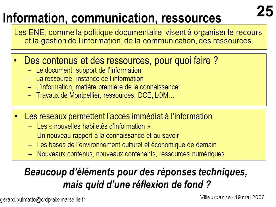 gerard.puimatto@crdp-aix-marseille.fr Villeurbanne - 19 mai 2006 25 Information, communication, ressources Des contenus et des ressources, pour quoi f