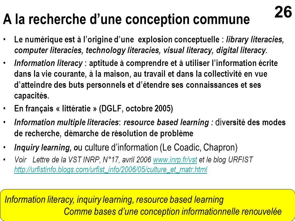 gerard.puimatto@crdp-aix-marseille.fr Villeurbanne - 19 mai 2006 26 Le numérique est à lorigine dune explosion conceptuelle : library literacies, comp