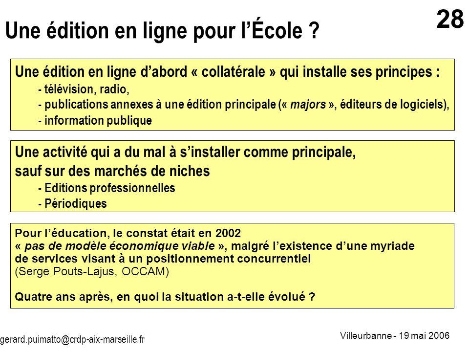 gerard.puimatto@crdp-aix-marseille.fr Villeurbanne - 19 mai 2006 28 Une édition en ligne pour lÉcole ? Une édition en ligne dabord « collatérale » qui
