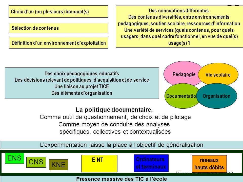 gerard.puimatto@crdp-aix-marseille.fr Villeurbanne - 19 mai 2006 33 Présence massive des TIC à lécole KNE CNS ENS Ordinateurs et terminaux réseaux hau
