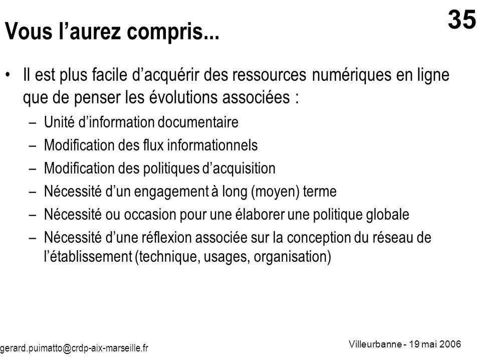 gerard.puimatto@crdp-aix-marseille.fr Villeurbanne - 19 mai 2006 35 Vous laurez compris... Il est plus facile dacquérir des ressources numériques en l