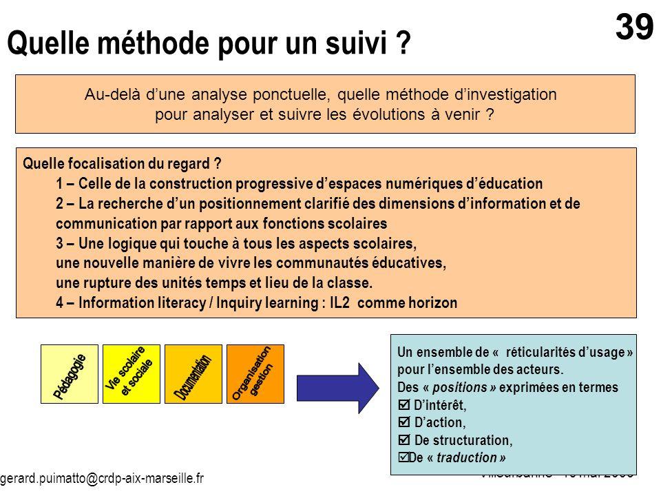 gerard.puimatto@crdp-aix-marseille.fr Villeurbanne - 19 mai 2006 39 Quelle méthode pour un suivi ? Au-delà dune analyse ponctuelle, quelle méthode din