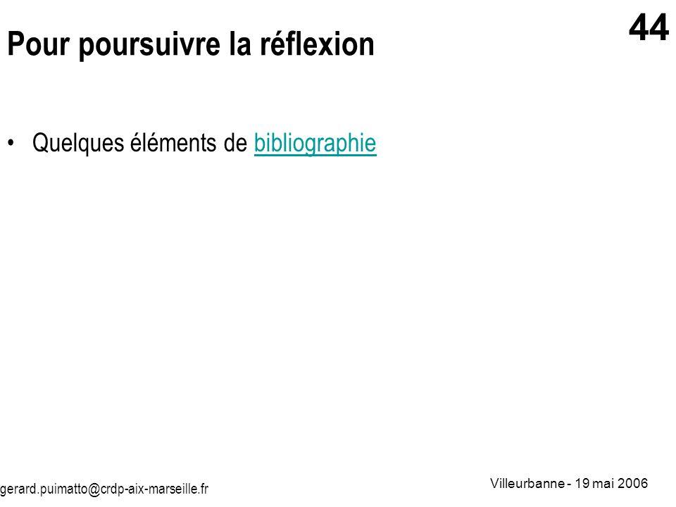 gerard.puimatto@crdp-aix-marseille.fr Villeurbanne - 19 mai 2006 44 Pour poursuivre la réflexion Quelques éléments de bibliographiebibliographie
