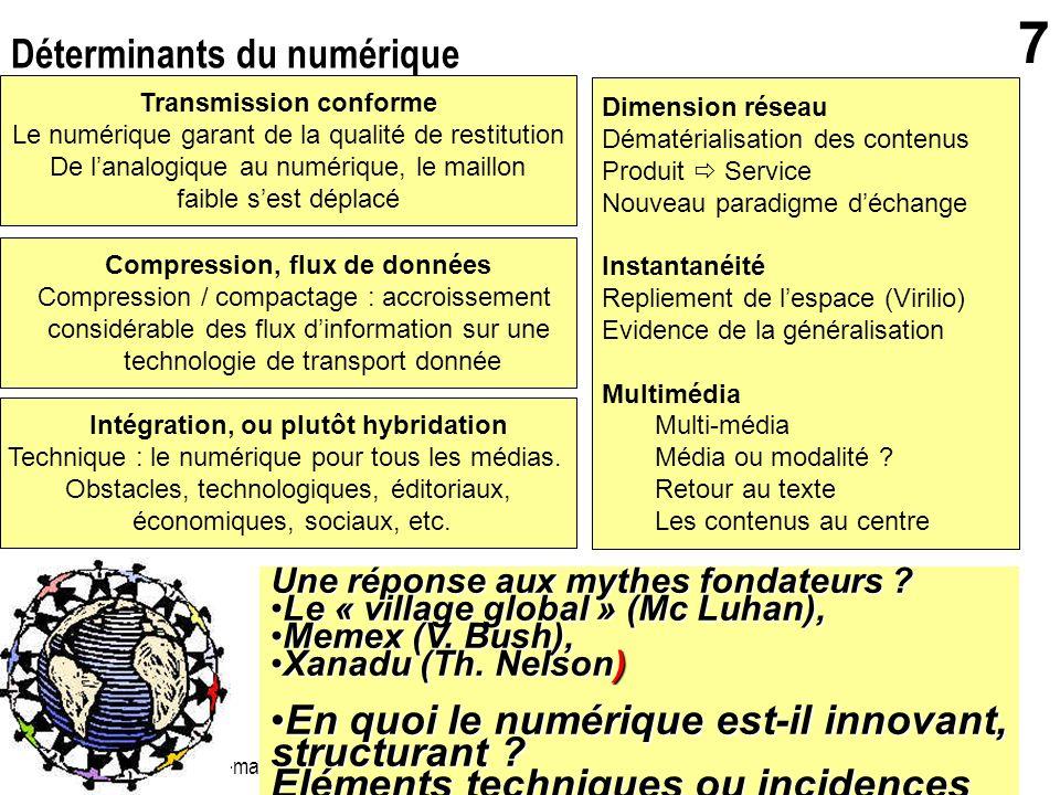 gerard.puimatto@crdp-aix-marseille.fr Villeurbanne - 19 mai 2006 7 Déterminants du numérique Transmission conforme Le numérique garant de la qualité d