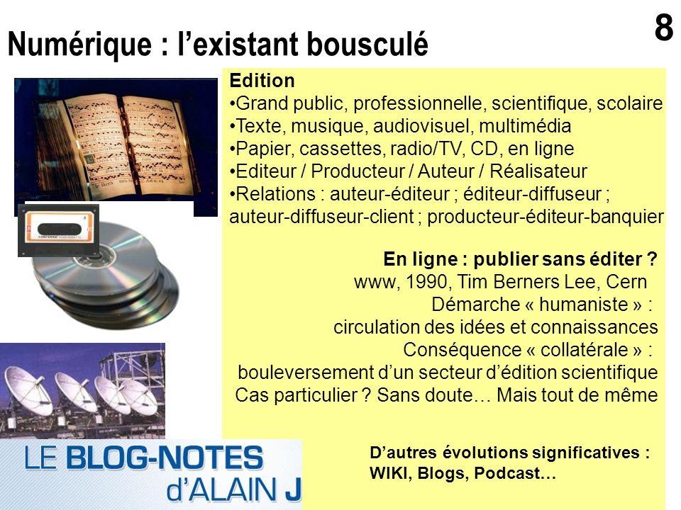 gerard.puimatto@crdp-aix-marseille.fr Villeurbanne - 19 mai 2006 8 Numérique : lexistant bousculé Edition Grand public, professionnelle, scientifique,