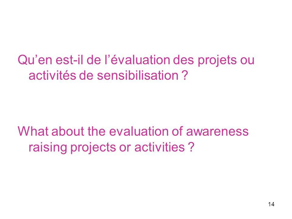 14 Quen est-il de lévaluation des projets ou activités de sensibilisation .
