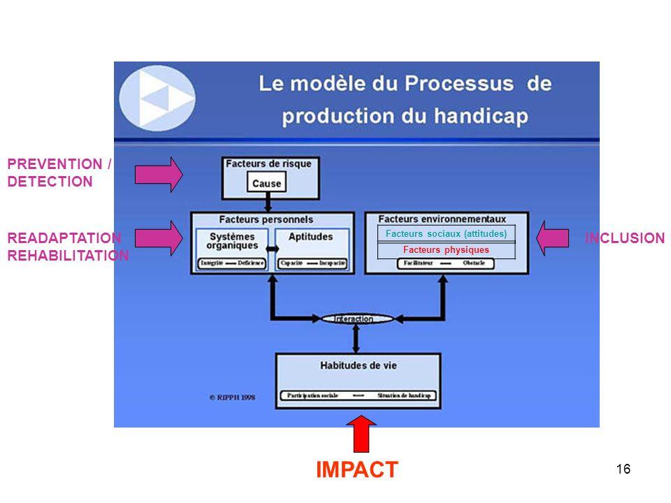 16 PREVENTION / DETECTION READAPTATION REHABILITATION INCLUSION IMPACT Facteurs physiques Facteurs sociaux (attitudes)
