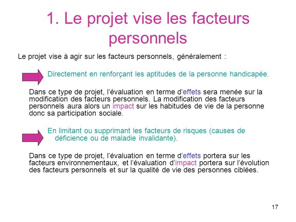 17 1. Le projet vise les facteurs personnels Le projet vise à agir sur les facteurs personnels, généralement : Directement en renforçant les aptitudes