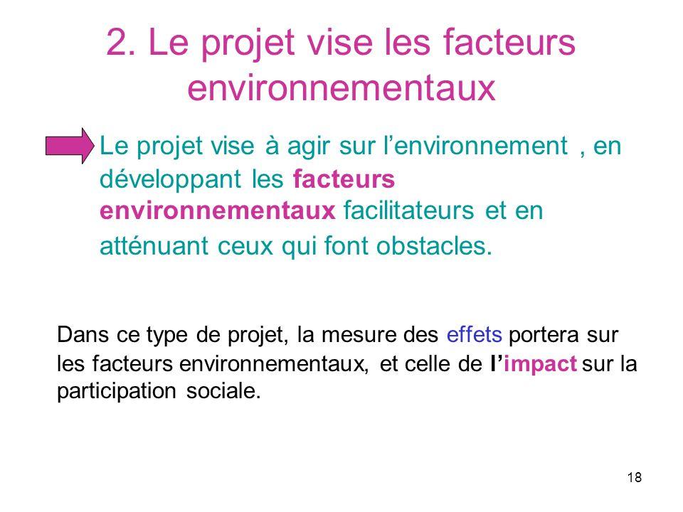 18 2. Le projet vise les facteurs environnementaux Le projet vise à agir sur lenvironnement, en développant les facteurs environnementaux facilitateur