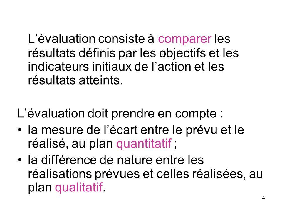 4 Lévaluation consiste à comparer les résultats définis par les objectifs et les indicateurs initiaux de laction et les résultats atteints. Lévaluatio