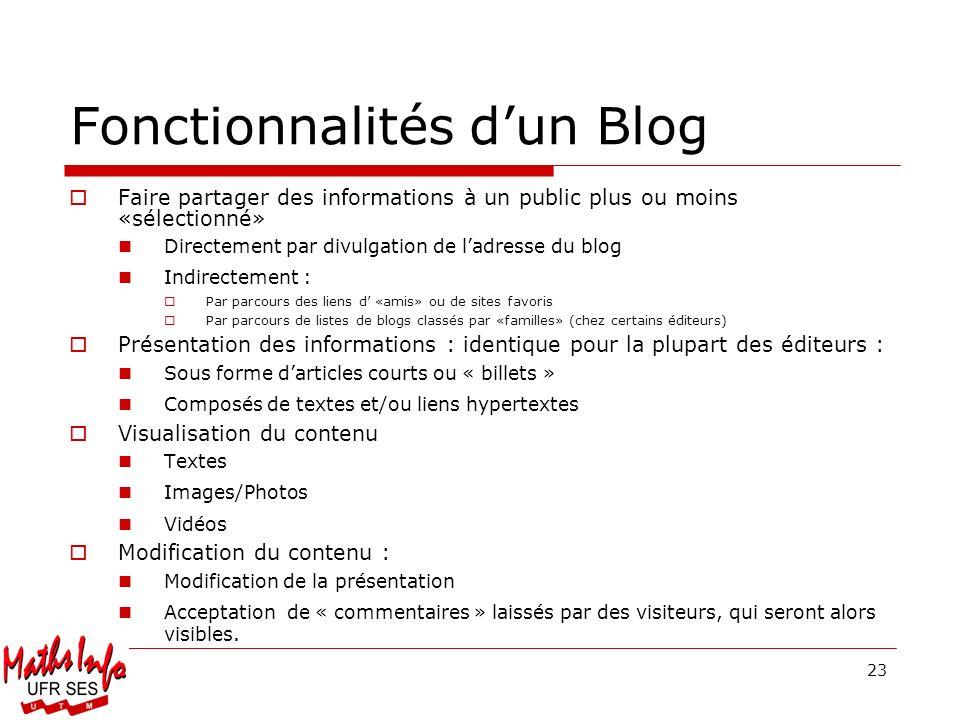 23 Fonctionnalités dun Blog Faire partager des informations à un public plus ou moins «sélectionné» Directement par divulgation de ladresse du blog In