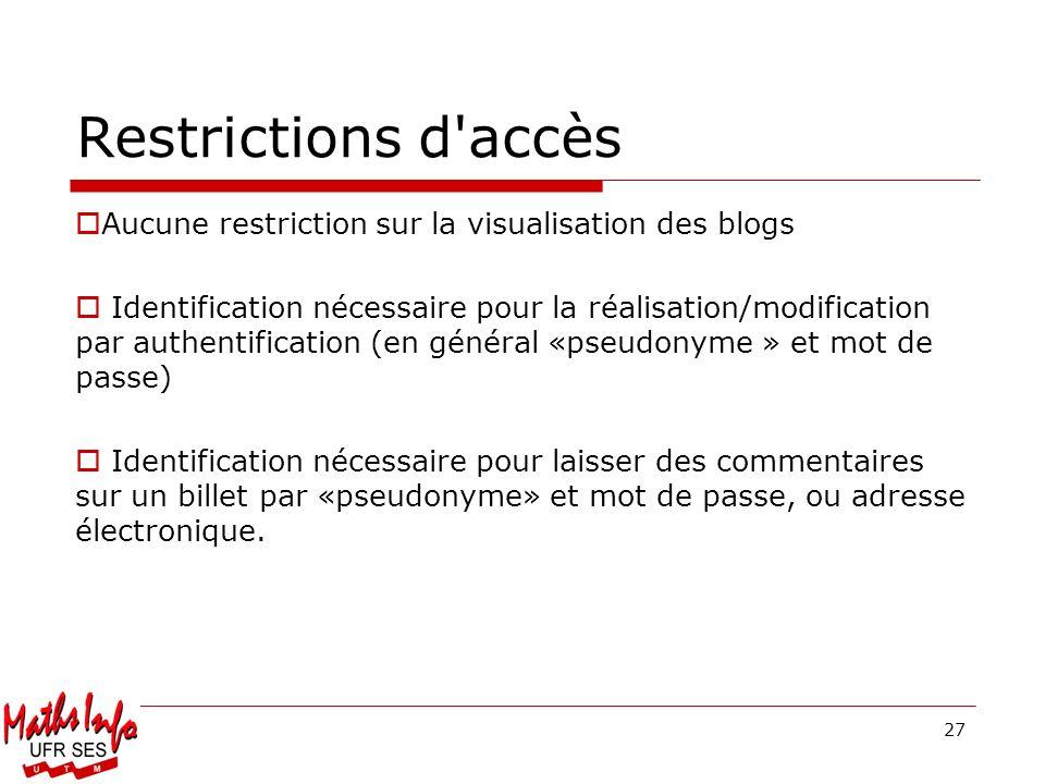 27 Restrictions d'accès Aucune restriction sur la visualisation des blogs Identification nécessaire pour la réalisation/modification par authentificat