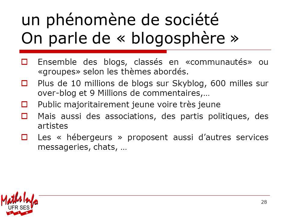 28 un phénomène de société On parle de « blogosphère » Ensemble des blogs, classés en «communautés» ou «groupes» selon les thèmes abordés. Plus de 10