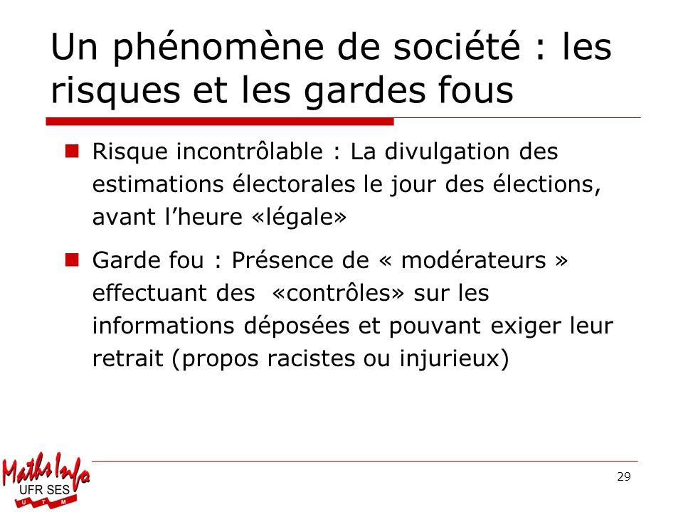 29 Un phénomène de société : les risques et les gardes fous Risque incontrôlable : La divulgation des estimations électorales le jour des élections, a