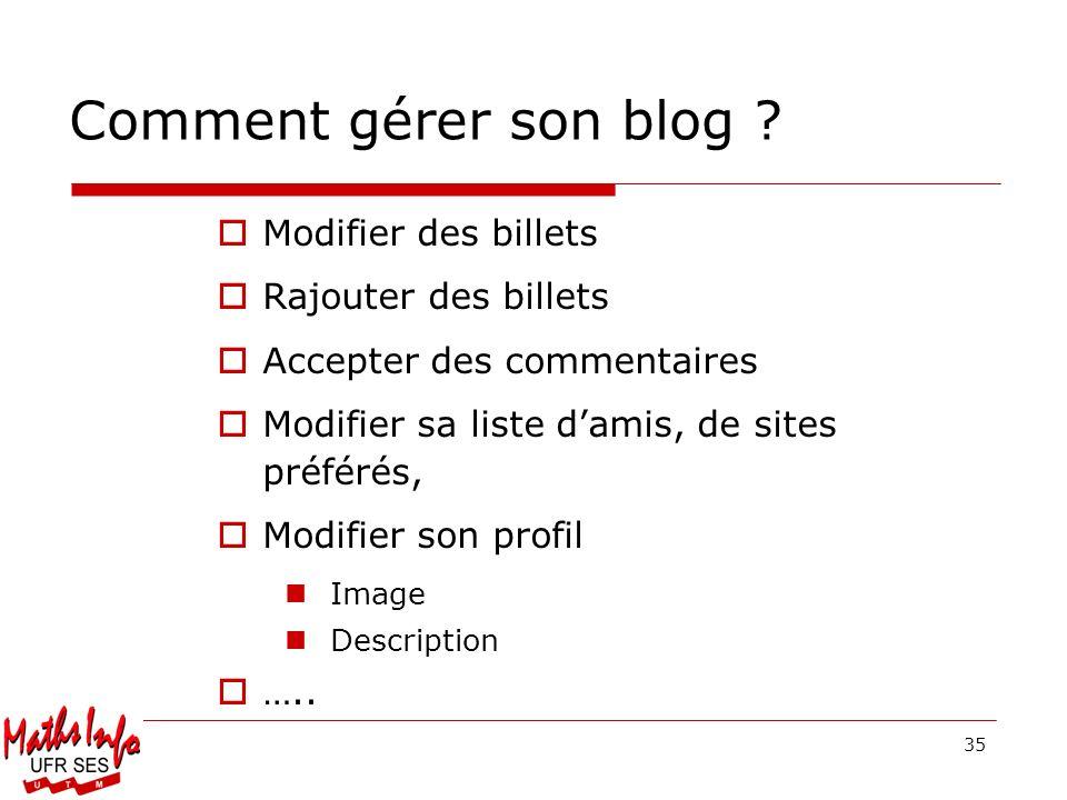 35 Modifier des billets Rajouter des billets Accepter des commentaires Modifier sa liste damis, de sites préférés, Modifier son profil Image Descripti