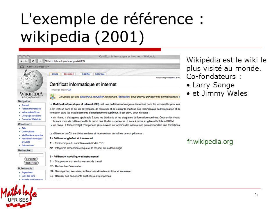 5 L'exemple de référence : wikipedia (2001) Wikipédia est le wiki le plus visité au monde. Co-fondateurs : Larry Sange et Jimmy Wales fr.wikipedia.org