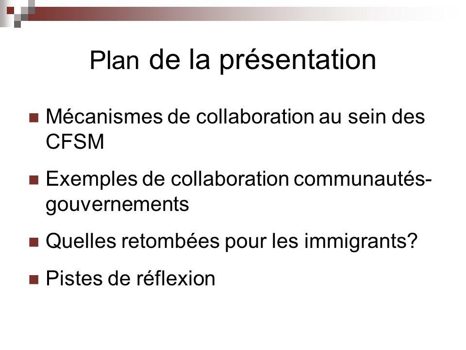 Plan de la présentation Mécanismes de collaboration au sein des CFSM Exemples de collaboration communautés- gouvernements Quelles retombées pour les immigrants.