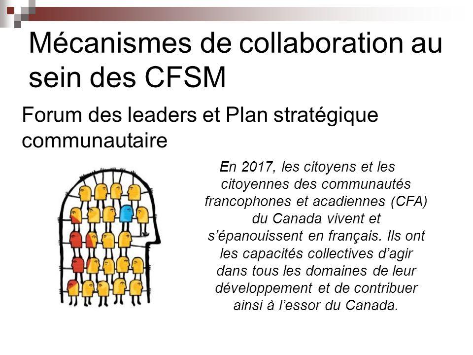 Mécanismes de collaboration au sein des CFSM Forum des leaders et Plan stratégique communautaire En 2017, les citoyens et les citoyennes des communautés francophones et acadiennes (CFA) du Canada vivent et sépanouissent en français.