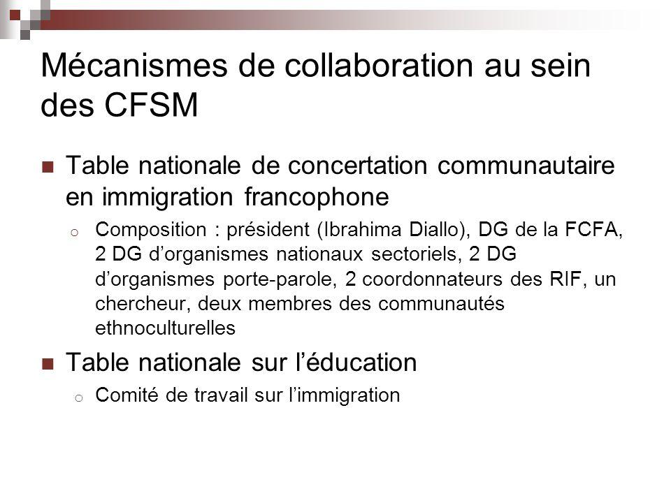 Mécanismes de collaboration au sein des CFSM Table nationale de concertation communautaire en immigration francophone o Composition : président (Ibrahima Diallo), DG de la FCFA, 2 DG dorganismes nationaux sectoriels, 2 DG dorganismes porte-parole, 2 coordonnateurs des RIF, un chercheur, deux membres des communautés ethnoculturelles Table nationale sur léducation o Comité de travail sur limmigration
