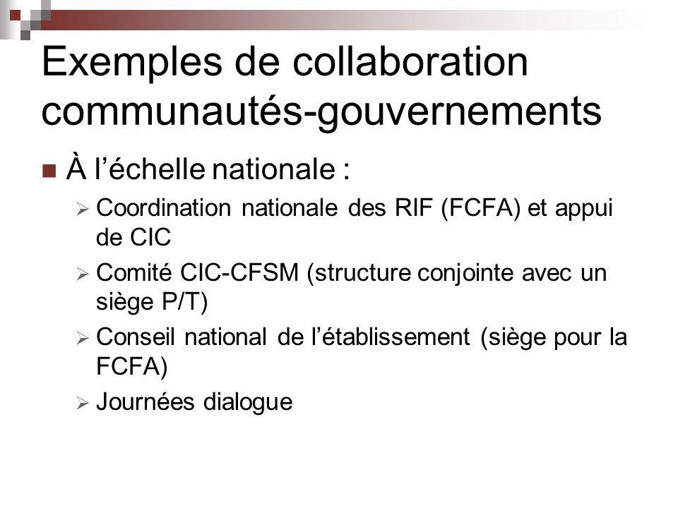 Exemples de collaboration communautés-gouvernements À léchelle nationale : Coordination nationale des RIF (FCFA) et appui de CIC Comité CIC-CFSM (structure conjointe avec un siège P/T) Conseil national de létablissement (siège pour la FCFA) Journées dialogue