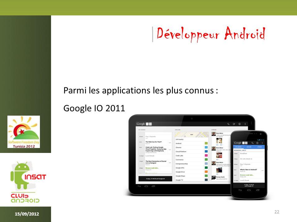 22 15/09/2012 Développeur Android Parmi les applications les plus connus : Google IO 2011
