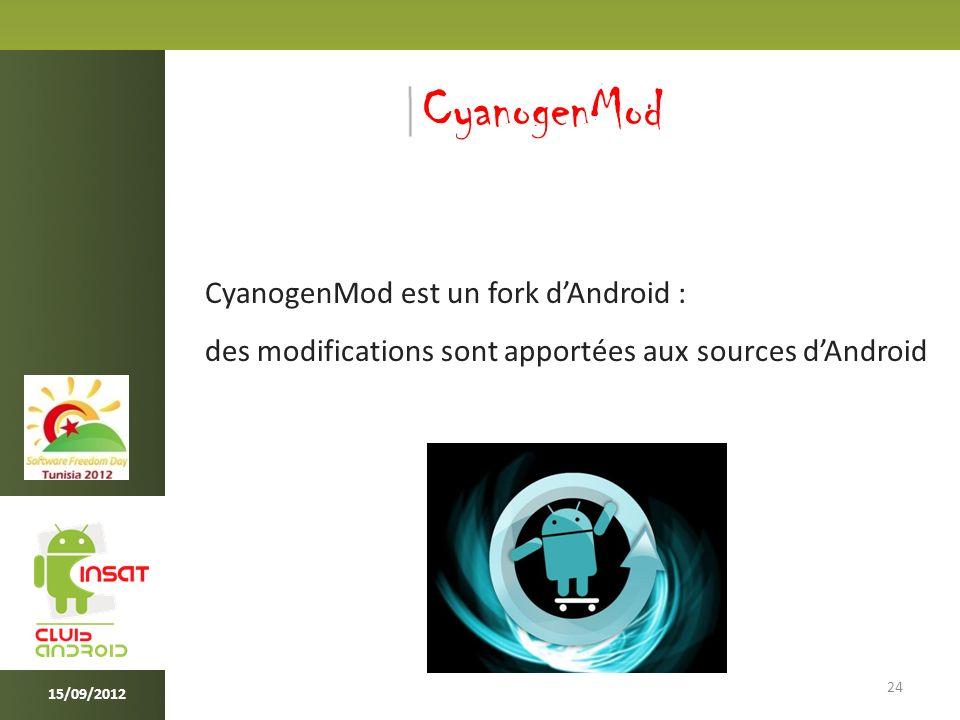 24 15/09/2012 CyanogenMod CyanogenMod est un fork dAndroid : des modifications sont apportées aux sources dAndroid