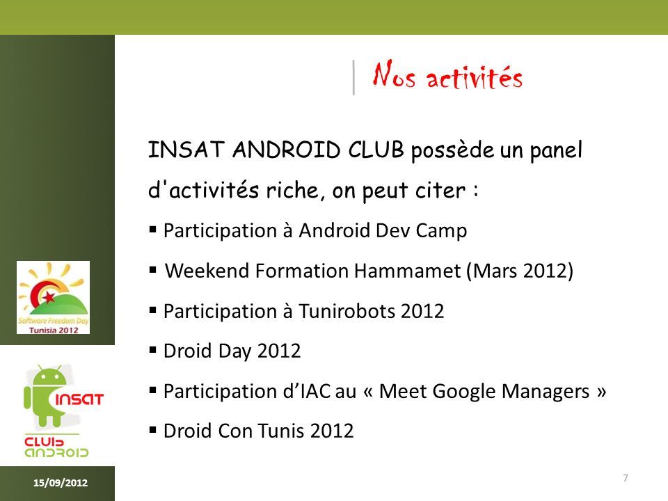 Palmarès (1/3) 8 Android Summer Challenge 2011 Bassem Kassis ( 1er Prix ) Orange Revolution Challenge 2011 Jouda Hidri ( 1er Prix ) Orange Coding Party 2 ( Décembre 2011 ) Amine Belhassine & Bassem Kassis ( 1er Prix ) 15/09/2012