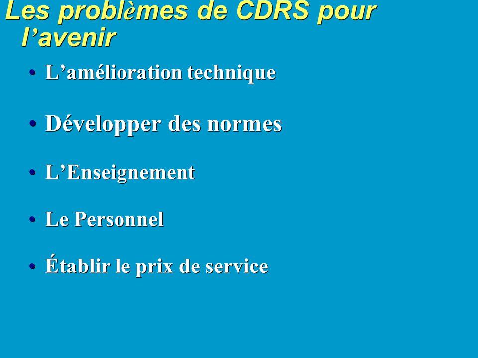 Les probl è mes de CDRS pour l avenir Lamélioration technique Développer des normes LEnseignement Le Personnel Établir le prix de service Lamélioration technique Développer des normes LEnseignement Le Personnel Établir le prix de service