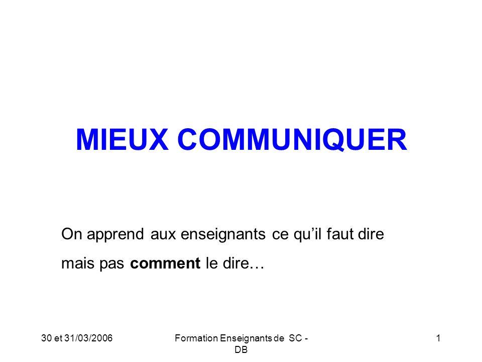 30 et 31/03/2006Formation Enseignants de SC - DB 2 La COMMUNICATION : 5 canaux = 5 sens = 5 modes Sens/CanalMode 1.