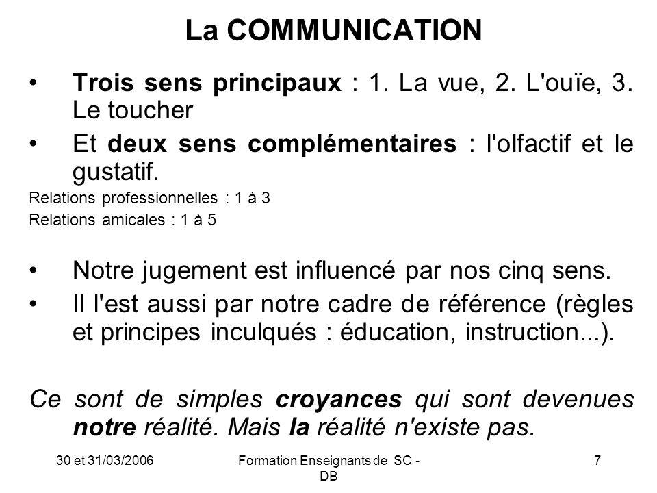 30 et 31/03/2006Formation Enseignants de SC - DB 8 La COMMUNICATION : Se synchroniser sur l autre pour communiquer avec lui(elle) parole et pensée sont liées.