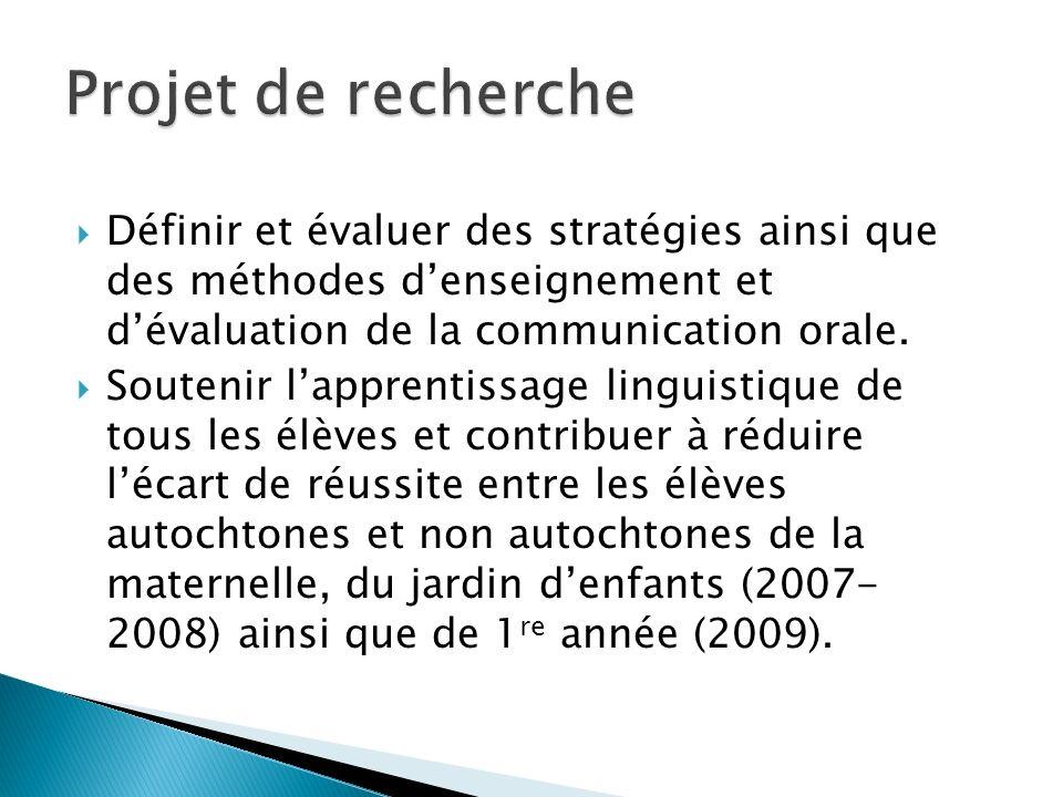 Définir et évaluer des stratégies ainsi que des méthodes denseignement et dévaluation de la communication orale. Soutenir lapprentissage linguistique