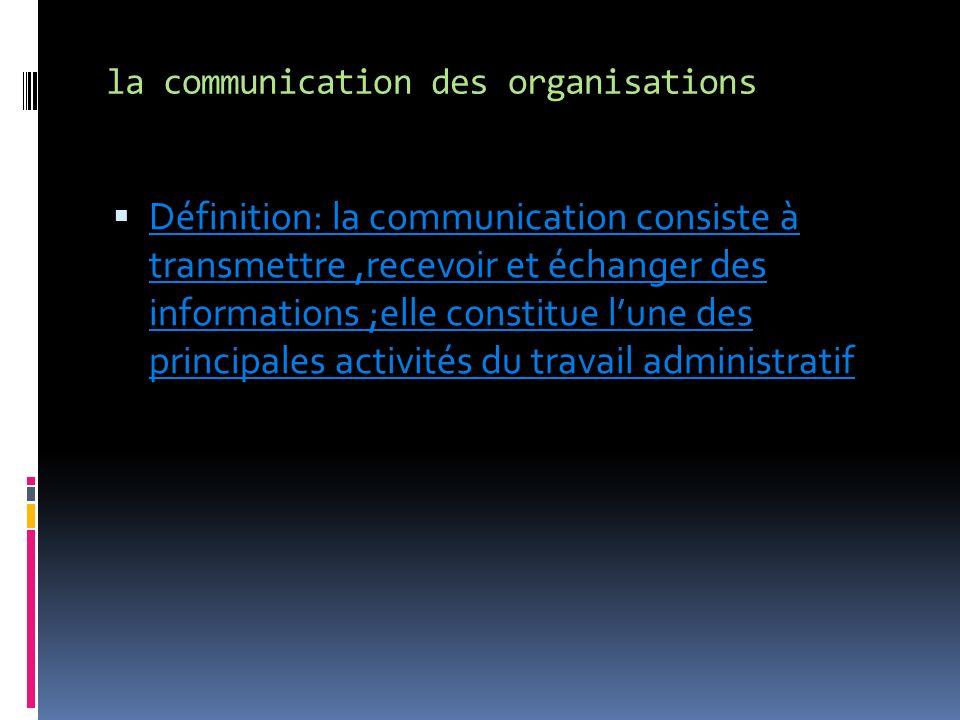 la communication des organisations Définition: la communication consiste à transmettre,recevoir et échanger des informations ;elle constitue lune des