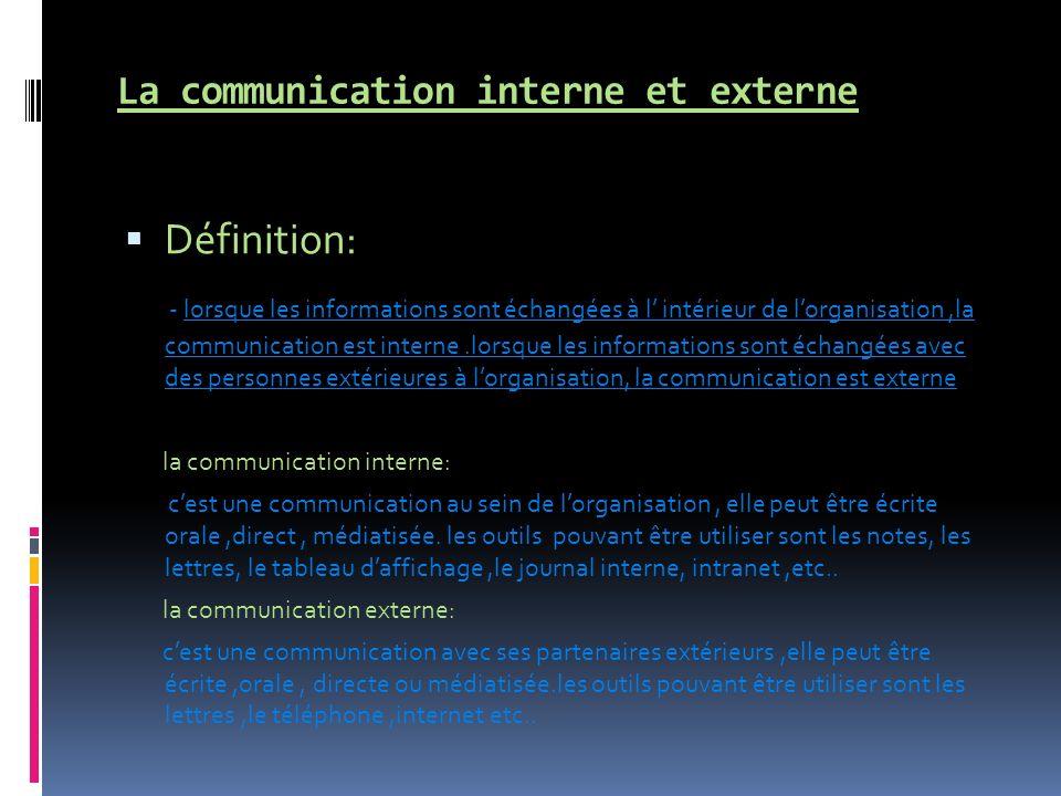 La communication interne et externe Définition: - lorsque les informations sont échangées à l intérieur de lorganisation,la communication est interne.