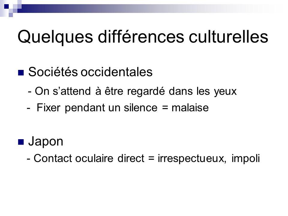 Quelques différences culturelles Sociétés occidentales - On sattend à être regardé dans les yeux - Fixer pendant un silence = malaise Japon - Contact oculaire direct = irrespectueux, impoli