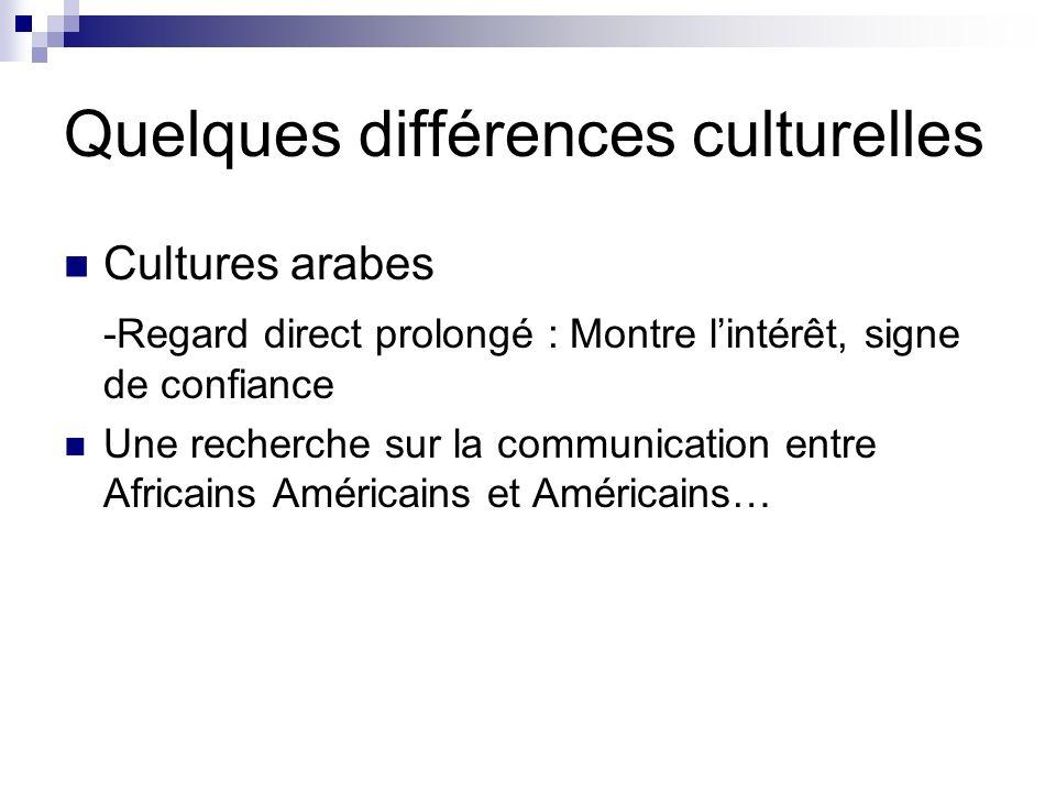 Quelques différences culturelles Cultures arabes -Regard direct prolongé : Montre lintérêt, signe de confiance Une recherche sur la communication entre Africains Américains et Américains…