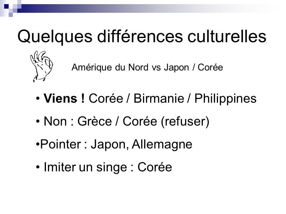 Quelques différences culturelles Amérique du Nord vs Japon / Corée Viens ! Corée / Birmanie / Philippines Non : Grèce / Corée (refuser) Pointer : Japo
