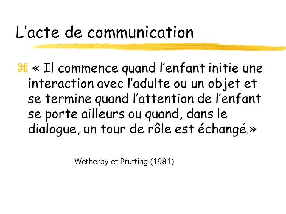 Lacte de communication z « Il commence quand lenfant initie une interaction avec ladulte ou un objet et se termine quand lattention de lenfant se porte ailleurs ou quand, dans le dialogue, un tour de rôle est échangé.» Wetherby et Prutting (1984)