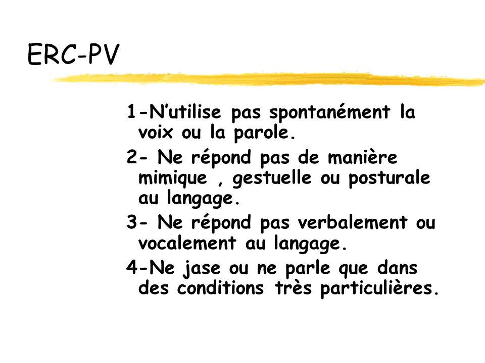 ERC-PV 1-Nutilise pas spontanément la voix ou la parole.