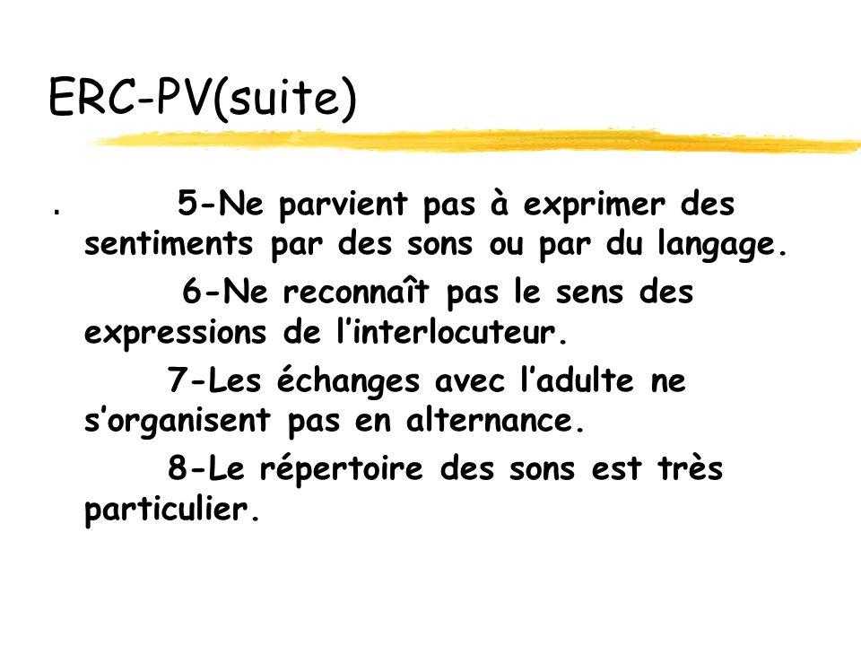 ERC-PV(suite).5-Ne parvient pas à exprimer des sentiments par des sons ou par du langage.