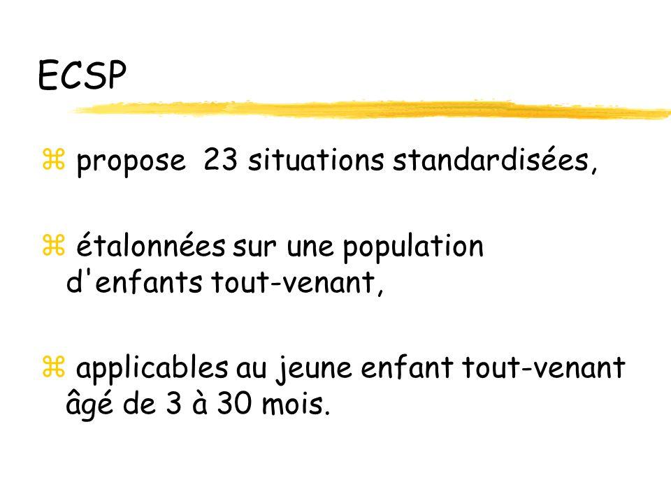 ECSP z propose 23 situations standardisées, z étalonnées sur une population d enfants tout-venant, applicables au jeune enfant tout-venant âgé de 3 à 30 mois.