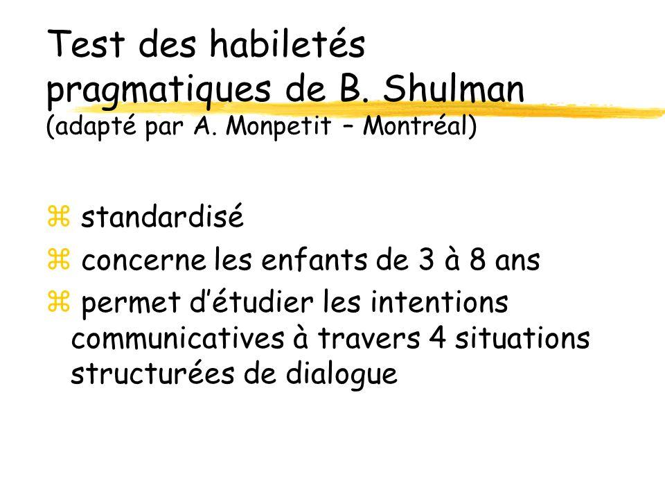 Test des habiletés pragmatiques de B.Shulman (adapté par A.