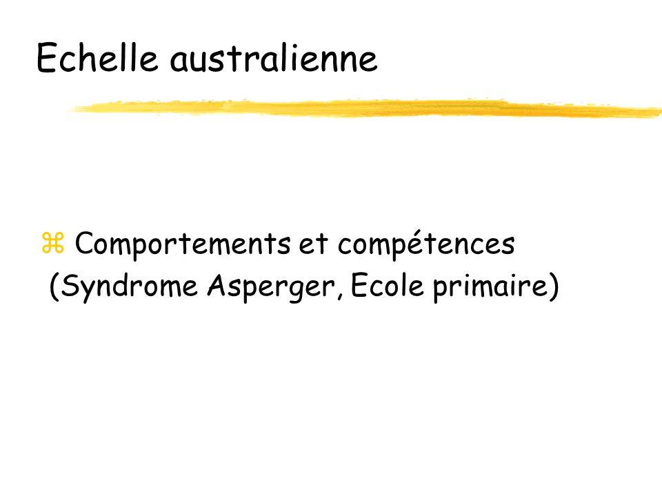 Echelle australienne C omportements et compétences (Syndrome Asperger, Ecole primaire)