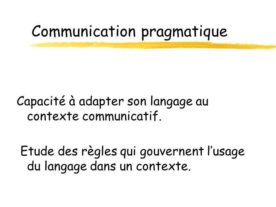 Evaluer la communication pragmatique Deux types dévaluation: z Lenfant sans langage Consiste à établir un profil des fonctions et des moyens de communication de lenfant et à situer son niveau de développement dans les domaines considérés comme précurseurs de la communication.