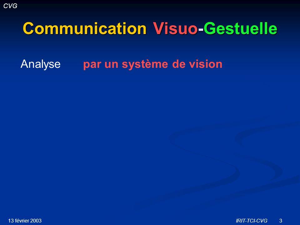 13 février 2003IRIT-TCI-CVG24 AS-IG : Présentation Objectif Objectif Enrichir les capacités déchange de la communication visuo-gestuelle Enrichir les capacités déchange de la communication visuo-gestuelle Développer des modèles danalyse des langues gestuelles par un système de vision Développer des modèles danalyse des langues gestuelles par un système de vision Méthode Méthode Etude des points communs langue des signes / gestuelle co-verbale dans la communication H-H Etude des points communs langue des signes / gestuelle co-verbale dans la communication H-H Transposition à la communication H-M Transposition à la communication H-M Réalisation dune maquette de simulation Réalisation dune maquette de simulation Projet-2