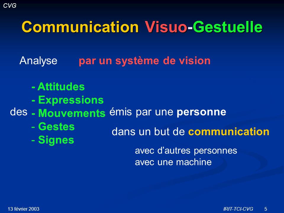 13 février 2003IRIT-TCI-CVG6 Communication Visuo-Gestuelle Analyse - Attitudes - Expressions - Mouvements - Gestes - Signes par un système de vision desémis par une personne dans un but de communication avec dautres personnes avec une machine Communication Interaction CVG