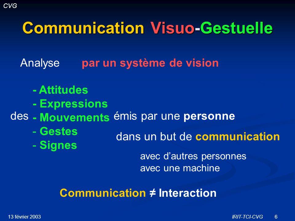 13 février 2003IRIT-TCI-CVG27 AS : AS : Communication en langue des signes des sourds (RTP Handicap) Représentations et Modélisations du mouvement dans le contexte de linteraction et de lanimation dagents de synthèse communicant en langue des signes.