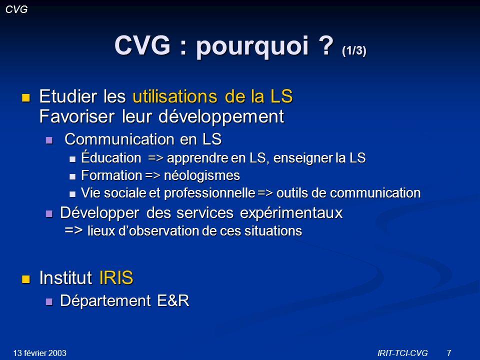 13 février 2003IRIT-TCI-CVG8 CVG : pourquoi .