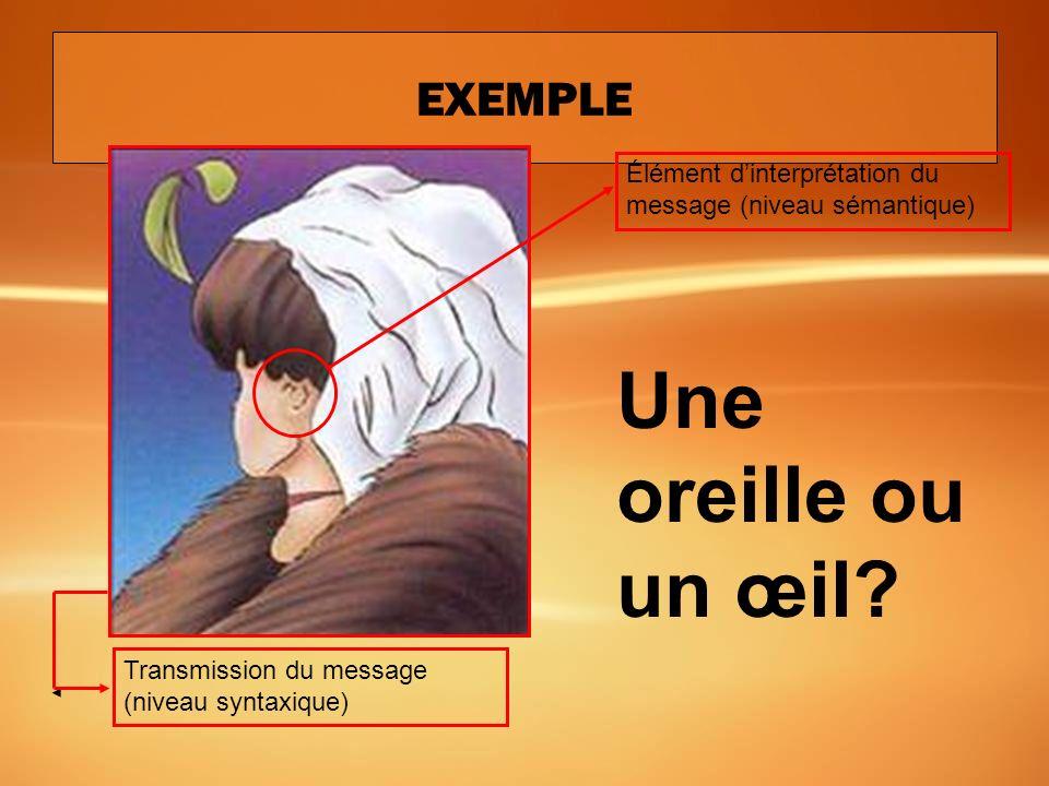La perception en communication Émetteur (Récepteur) Récepteur (Émetteur) message rétroaction Canal de communication Niveaux danalyse : 1. Syntaxique: